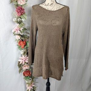 Jeanne Pierre Brown Open Knit Sweater size XL